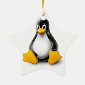 Linux Tux the Penguin Double-Sided Star Ceramic Christmas Ornament
