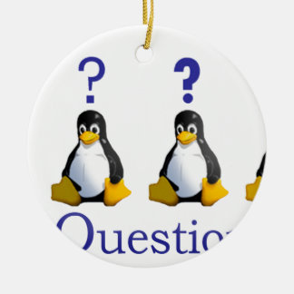 LinuxQuestions.org Logo Double-Sided Ceramic Round Christmas Ornament