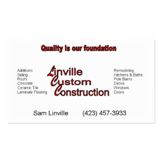 Linville Custom Construction Business Card