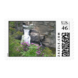 Linville falls waterfall north carolina. postage stamps