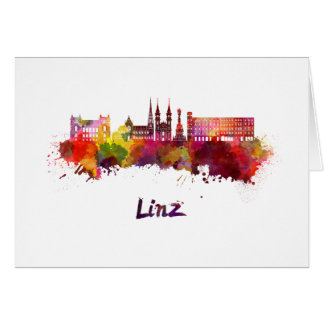 Linz skyline in watercolor card