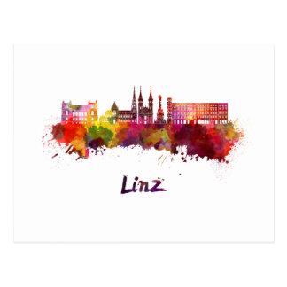 Linz skyline in watercolor postcard