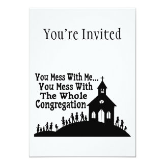 """Lío con la congregación entera invitación 5"""" x 7"""""""