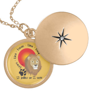 Lion 23 juillet outer 22 août collier gold plated necklace
