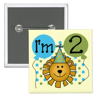 Lion 2nd Birthday T-shirts and Gifts Pinback Buttons
