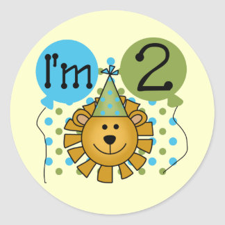 Lion 2nd Birthday T-shirts and Gifts Classic Round Sticker