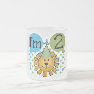 Lion 2nd Birthday T-shirts and Gifts Frosted Glass Coffee Mug