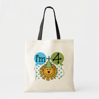 Lion 4th Birthday T-shirts and Gifts Canvas Bag