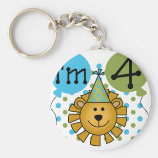 Lion 4th Birthday T-shirts and Gifts Basic Round Button Keychain
