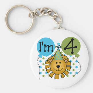 Lion 4th Birthday T-shirts and Gifts Keychain