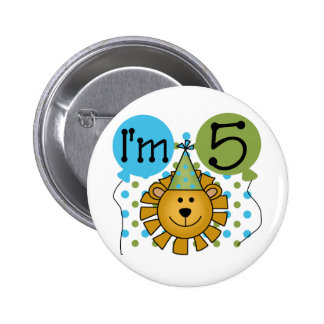 Lion 5th Birthday T-shirts and Gifts Button
