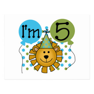 Lion 5th Birthday T-shirts and Gifts Postcard