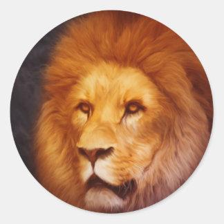 lion-6175 classic round sticker