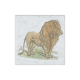 Lion African Cat Golden Mane Cartoon Stone Magnet