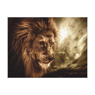 Lion against stormy sky canvas prints