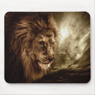 Lion against stormy sky mouse pad