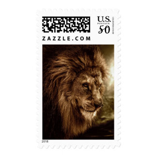 Lion against stormy sky postage