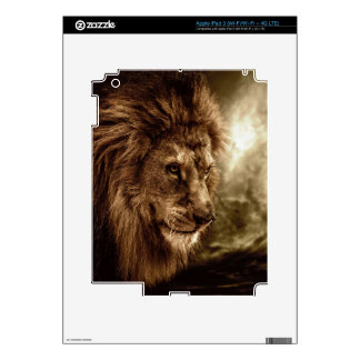 Lion against stormy sky skin for iPad 3