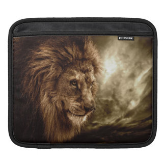 Lion against stormy sky sleeves for iPads