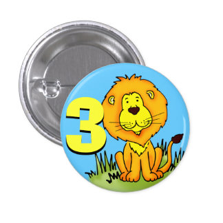 Lion age 3 birthday button orange yellow blue