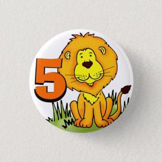 Lion age 5 birthday orange & yellow button