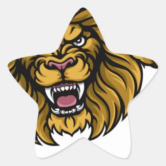 Lion American Football Ball Sports Mascot Star Sticker