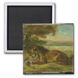 Lion and Alligator, 1863 2 Inch Square Magnet