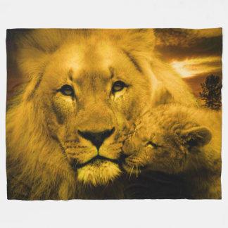 Lion and Cub Custom Fleece Blanket, Large