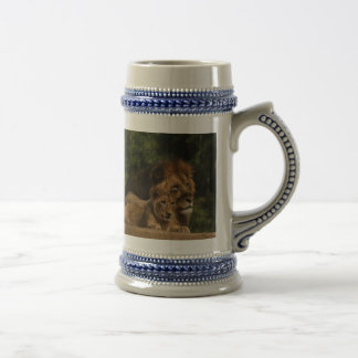 Lion and cub in the grass beer stein
