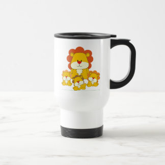 Lion and Cubs 15 Oz Stainless Steel Travel Mug