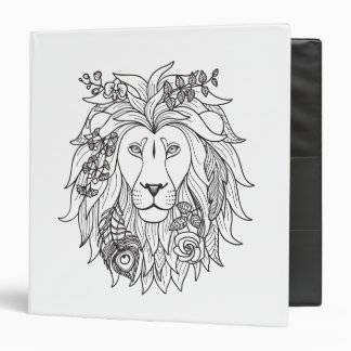 Lion And Flowers Doodle Binder