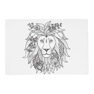 Lion And Flowers Doodle Placemat
