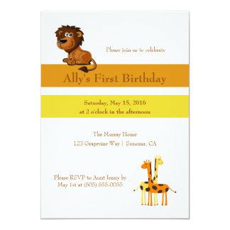 Lion and Giraffes Custom Birthday Card