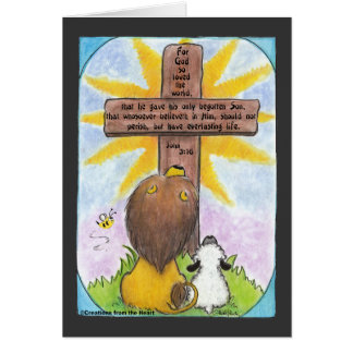 Lion and Lamb At the Cross Card
