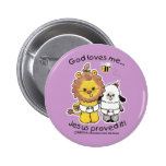 Lion and Lamb Babies 2 Inch Round Button