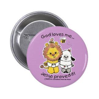 Lion and Lamb Babies Pinback Button