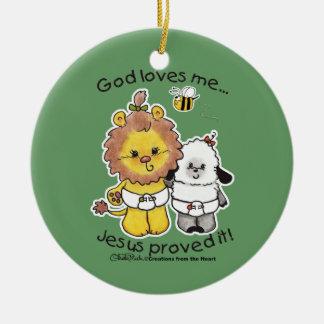 Lion and Lamb Babies Ceramic Ornament