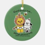Lion and Lamb Babies Double-Sided Ceramic Round Christmas Ornament