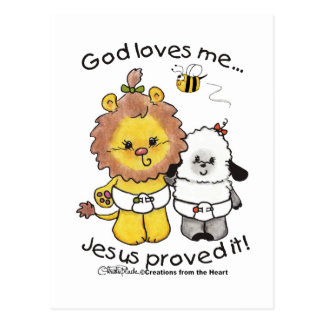 Lion and Lamb Babies Postcard
