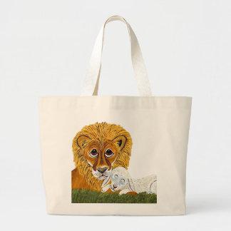 Lion And Lamb Canvas Bag