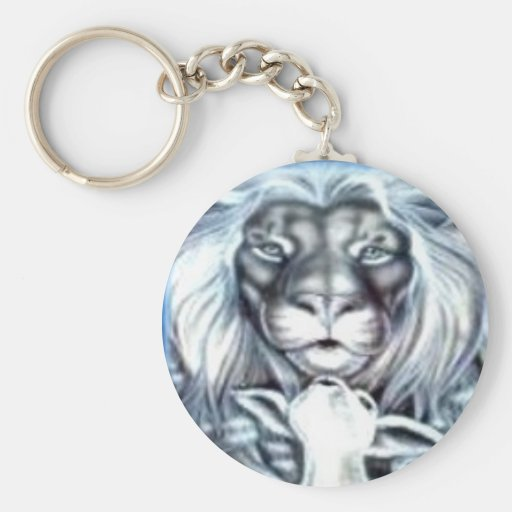 Lion and Lamb Basic Round Button Keychain