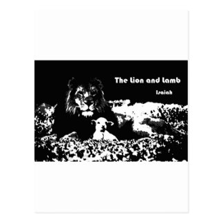 Lion and Lamb Black and White Postcard