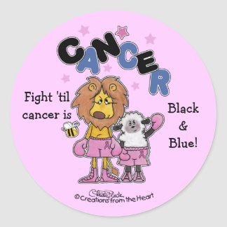 Lion and Lamb Boxers-Make Cancer Black and Blue Classic Round Sticker