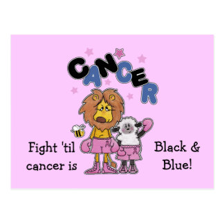 Lion and Lamb Boxers-Make Cancer Black and Blue Postcard