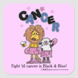 Lion and Lamb Boxers-Make Cancer Black and Blue Square Sticker