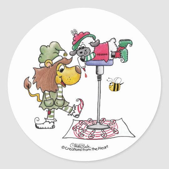 Lion and Lamb Candy Cane Makers Classic Round Sticker