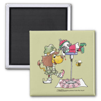 Lion and Lamb Candy Cane Makers Refrigerator Magnet