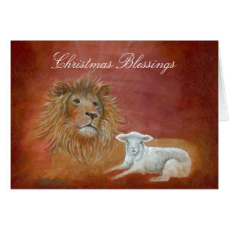Lion And Lamb, Christmas Blessings Greeting Card