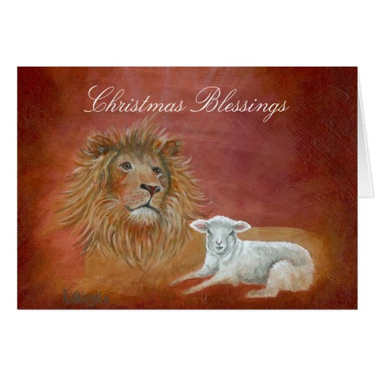 Lion And Lamb Christmas Blessings Card Zazzle Com