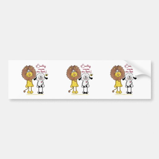 Lion and Lamb Heart Patches Car Bumper Sticker